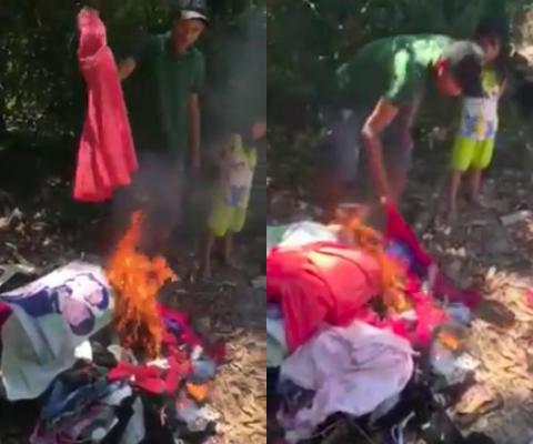 Xôn xao clip vợ đốt ảnh cưới như mớ rác sau ly hôn chỉ vì người thứ ba của chồng...-8