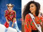 Cuộc chiến váy áo cực gắt của Hoàng Thùy và đối thủ Miss Universe 2019 khi cùng khoác 'chăn con công'