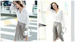Mặc đồ lụa lại gặp gió lớn, Park Min Young gặp sự cố kém duyên tại sân bay