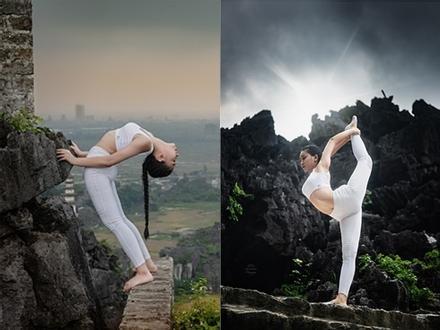 Thiếu nữ gây tranh cãi với những tư thế tập yoga cực khó trên địa hình hiểm trở ở khu du lịch Ninh Bình