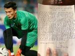 Lá thư tay của cô bé 14 tuổi gửi đến thủ môn Bùi Tiến Dũng gây xúc động