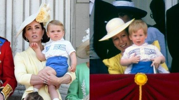 Dân mạng thích thú khi phát hiện con trai út của Kate mặc lại áo cách đây 33 năm của Hoàng tử Harry-3