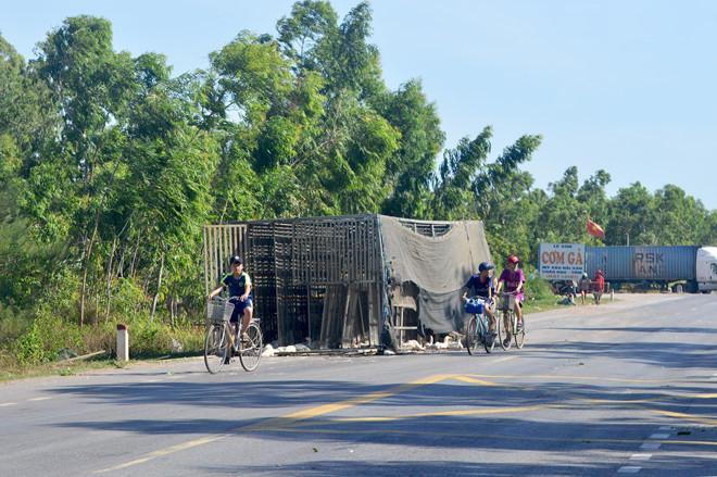 Xe tải lật, hàng trăm con vịt bị dân hôi của cướp mất-1