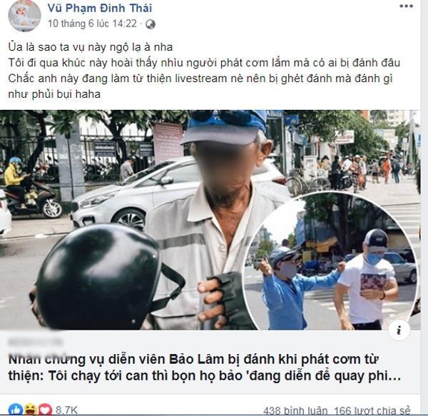 Thái Vũ FapTV đăng status gây tranh cãi về vụ thánh livestream Lê Dương Bảo Lâm bị đánh khi phát cơm từ thiện-3