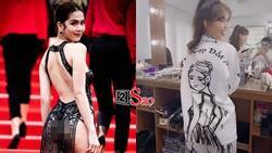 KHIÊU CHIẾN kiểu Ngọc Trinh: Gây shock bằng trang phục vừa mô tả scandal tại Cannes, vừa quảng bá phát ngôn 'cạp đất'