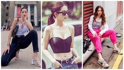 Khoe street style, Chi Pu pose dáng dạng rộng chẳng kém Hà Hồ - Ngọc Trinh 'đốt mắt' chỉ bằng 1 chiếc áo croptop