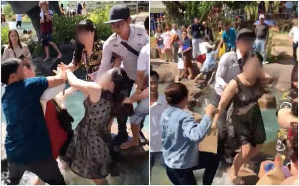 Clip: Chỉ vì tranh chỗ chụp ảnh 'sống ảo' ở Đà Lạt, 2 người phụ nữ trung niên 'choảng' nhau bôm bốp, rớt cả xuống hồ-5