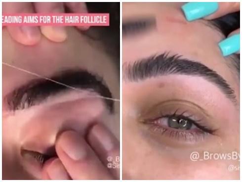 Phương pháp tỉa lông mày đỉnh cao nhất mọi thời đại: Không cần dao cạo, chỉ cần 2 sợi chỉ-1