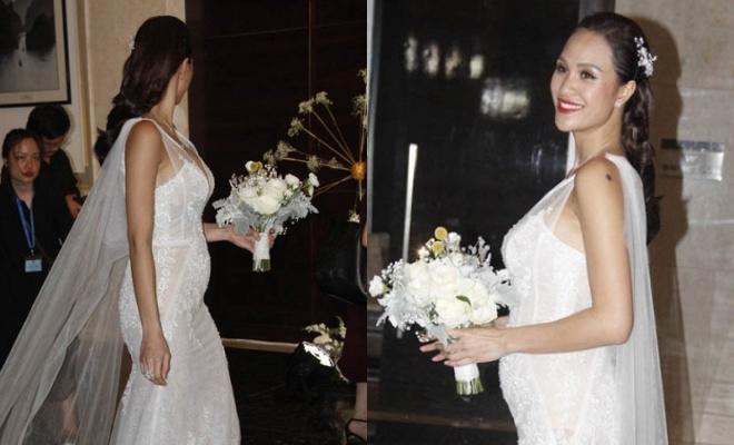 Siêu mẫu Phương Mai bất ngờ lộ vòng 2 lùm lùm như có bầu 4, 5 tháng trong đám cưới-6