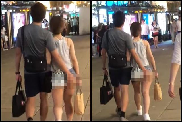 Cô gái gây sốc khi mặc quần hở nửa vòng 3 nhưng choáng hơn là hình ảnh người yêu biến thái vô tư động chạm vùng nhạy cảm-1
