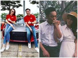Chẳng kém Hà Hồ - Kim Lý, Đàm Thu Trang - Cường Đô La cũng tích cực diện đồ đôi, tinh tế chọn phụ kiện để không quá chênh lệch chiều cao