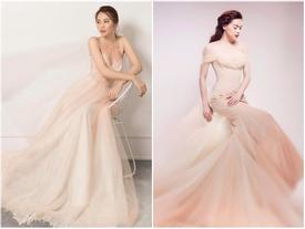 LẠ THAY: Mẫu váy cưới mới của Đàm Thu Trang khiến nhiều người liên tưởng đến Hồ Ngọc Hà làm cô dâu
