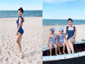 Chụp ảnh cùng 2 con bên bờ biển, 'bà mẹ bỉm sữa' lập tức chiếm spotlight nhờ nhan sắc đánh bật cả hotgirl