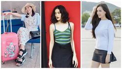 Diệu Nhi khoe thời trang sân bay như bà bầu đi đẻ - Mai Phương Thúy phô cặp giò trứ danh với váy ngắn cũn