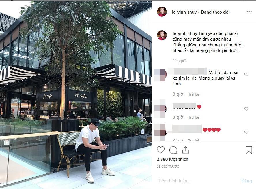 Vĩnh Thụy than phí duyên trời, fan cầu xin: Anh quay về với Hoàng Thùy Linh đi-1