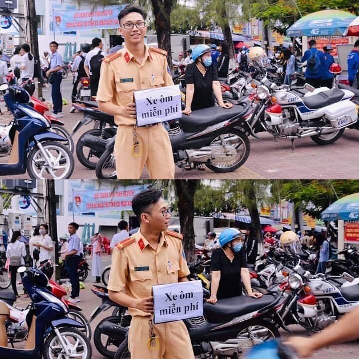 Chiến sĩ cảnh sát giao thông với tấm biển Xe ôm miễn phí gây bão kỳ thi THPT quốc gia-3