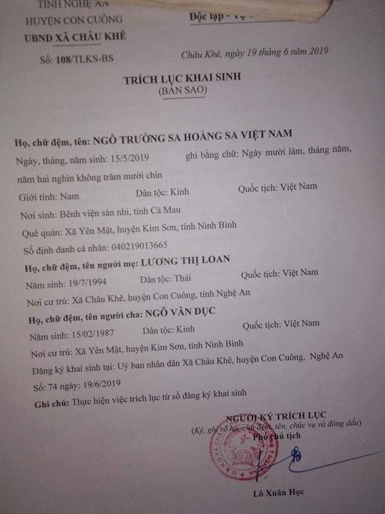 Xôn xao cặp vợ chồng xứ Nghệ đặt tên con là Trường Sa Hoàng Sa Việt Nam-1