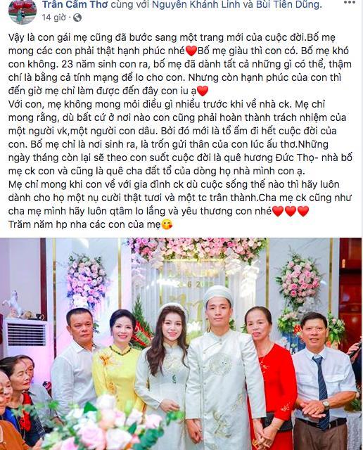 Vừa tổ chức lễ ăn hỏi hoành tráng, trung vệ Bùi Tiến Dũng và Khánh Linh còn bất ngờ được mẹ vợ làm điều đặc biệt-2