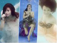 Sao Việt chụp ảnh dưới nước: Bích Phương đẹp tựa tiên cá, Thúy Nga như phù thủy đuối nước