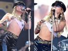 Miley Cyrus vén áo khoe ngực trên sân khấu