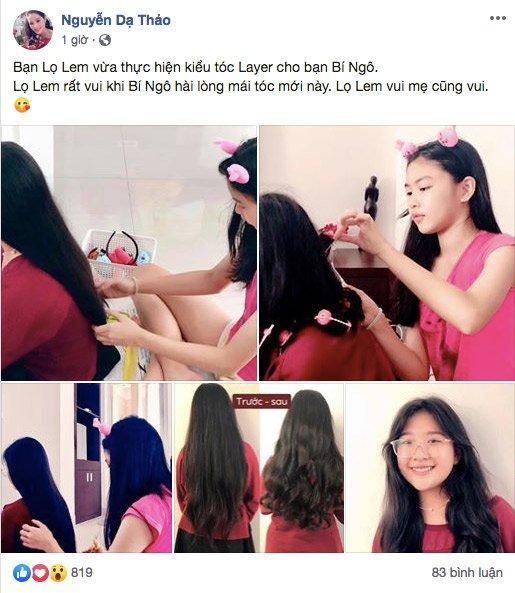 Con gái 15 tuổi của MC Quyền Linh trổ tài làm tóc cho bạn, bất ngờ nhất chính là phản ứng từ nghệ sĩ Hồng Vân-1