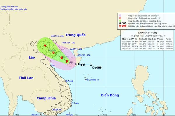 Tâm bão số 2 cách Bạch Long Vĩ 130km-1