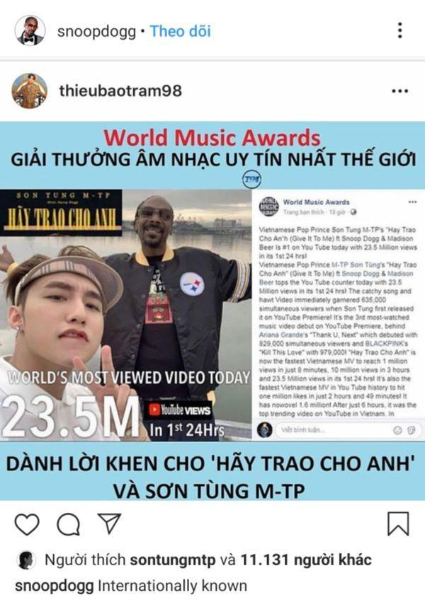 Thiều Bảo Trâm được Snoop Dogg cap màn hình chúc mừng Sơn Tùng MTP khiến Skys fan nháo nhào vì lo lắng-2