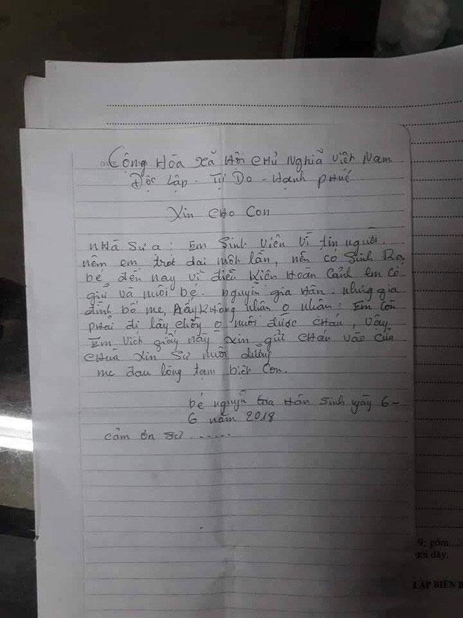 Truy tìm thiếu nữ bỏ con gái hơn 1 tuổi ở chùa kèm lá thư em còn phải lấy chồng, không nuôi được cháu-2