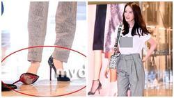 Giàu nứt đố đổ vách nhưng Yoona vẫn mê mẩn đôi giày cao gót rách sờn cả đế