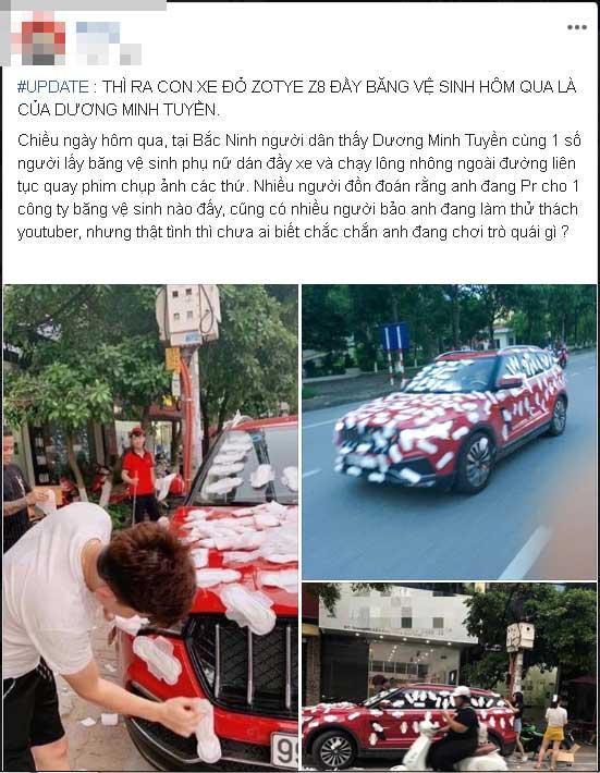 Thánh chửi Dương Minh Tuyền bị chửi sấp mặt vì dán băng vệ sinh kín ô tô rồi cho xe chạy khắp phố-1