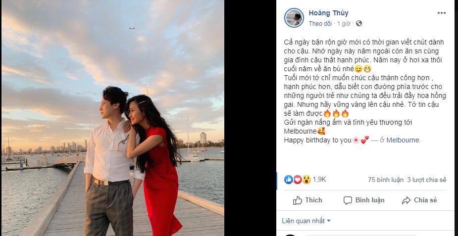 Sau tin đồn hẹn hò, Á hậu Hoàng Thùy công khai ảnh thân mật chúc mừng sinh nhật người tình tin đồn Rocker Nguyễn-1