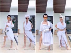 Hội con trai đi du lịch mà quá rảnh thì làm gì: làm hẳn show thời trang với khăn tắm chứ gì nữa!
