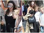 Angelina Jolie không mặc áo ngực, đi dép lê khi xuống phố cùng cặp sinh đôi