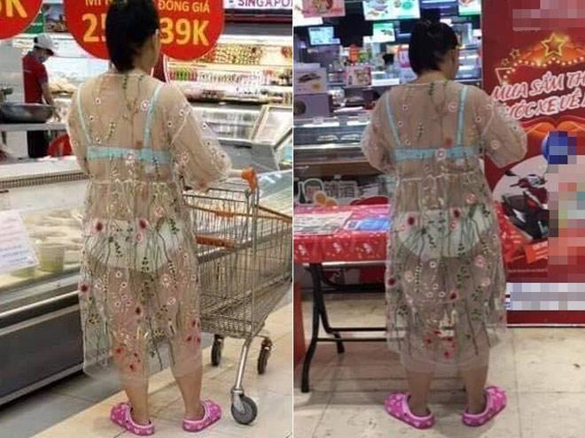 Ngay giữa siêu thị lớn Hà Nội, người phụ nữ diện váy xuyên thấu khiến ai nhìn cũng hoảng hốt vì tưởng cởi trần-1
