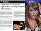 Taylor Swift là nghệ sĩ kiếm tiền nhiều nhất thế giới năm 2019