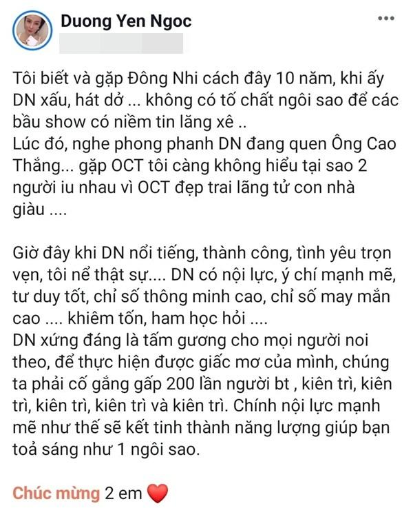 Dương Yến Ngọc gây tranh cãi khi chúc phúc Đông Nhi nhưng không quên lật quá khứ nữ ca sĩ vừa xấu vừa bất tài-2
