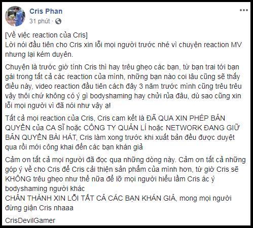Bị ném đá không ngẩng được mặt khi làm clip reaction kém sang về MV của Sơn Tùng, phản ứng của Cris Phan gây bất ngờ-3