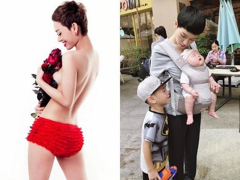 Trà My idol đúng chuẩn mẹ bỉm sữa một nách hai con xuống phố