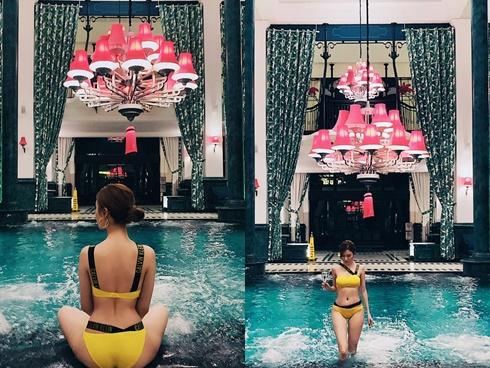 Học trò Tuấn Hưng - Hạnh Sino khoe ba vòng đâu ra đấy với bikini sặc sỡ bên hồ bơi