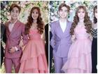 Trang điểm mặt trắng bóc trong đám cưới, Thu Thủy và chồng kém 10 tuổi bị ví như 2 tượng sáp