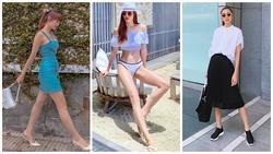 Hồ Ngọc Hà diện bikini 'đốt mắt' - Hà Tăng 'lên đồ' đen trắng giản dị vẫn đầy khí chất