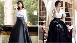 Diện sơ mi và chân váy đen 'siêu to khổng lồ' giống Lý Nhã Kỳ, H'Hen Niê kém 10 tuổi mà nhìn còn già hơn cả đàn chị