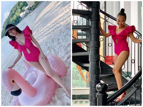 Diện áo tắm khoe vóc dáng siêu gọn hơn 1 tháng sau sinh, Á hậu Thanh Tú đụng ngay Đoan Trang-5