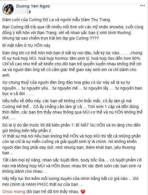 Dương Yến Ngọc phán tại sao Cường Đô La chọn cưới Đàm Thu Trang: Là do hợp nụ hôn và mùi cơ thể-3