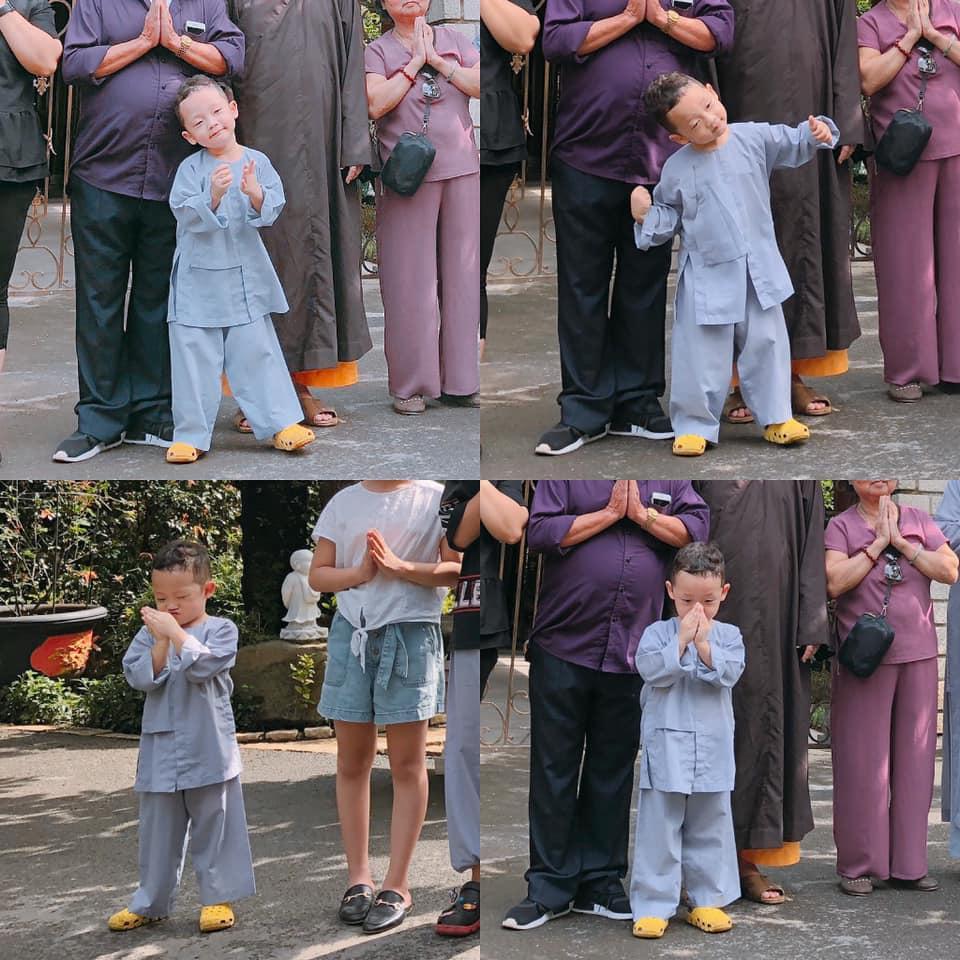 Đưa con trai lên chùa cầu bình an, single mom Ly Kute khiến ai nấy bất ngờ vì ngoại hình phổng phao, cao lớn của cậu bé-1