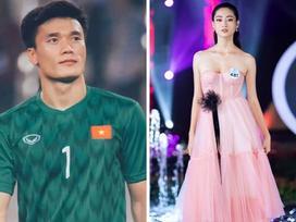 Hoa hậu Lương Thuỳ Linh theo dõi thủ môn Bùi Tiến Dũng