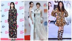 Chụp chung khung hình với Ngọc Trinh, Huyền Lizzie lạc quẻ mất điểm - Goo Hye Sun mặc 'áo chống nắng' lên thảm đỏ