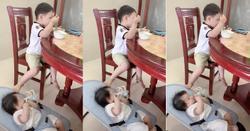 Clip: 'Trời đánh tránh miếng ăn' nhưng cậu bé này đang ăn vẫn phải trông em và đây là cách khiến ai cũng phì cười