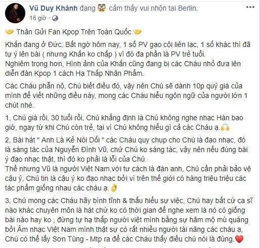 Công khai đối đầu fan Kpop: Vũ Duy Khánh gây phẫn nộ khi xưng hô chú cháu và dạy bảo fan Kpop đừng hâm mộ mù quáng-1