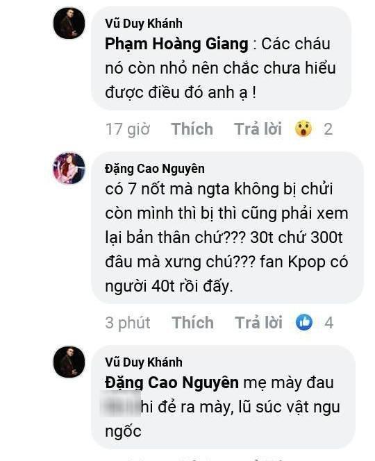 Công khai đối đầu fan Kpop: Vũ Duy Khánh gây phẫn nộ khi xưng hô chú cháu và dạy bảo fan Kpop đừng hâm mộ mù quáng-2